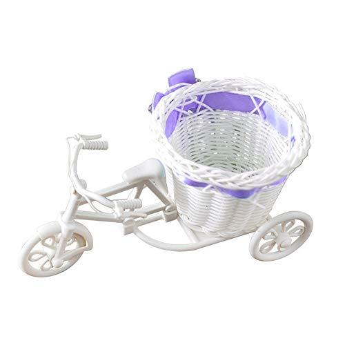 Blumenhochzeitskörbe Kunststoff Weiß Dreirad Fahrrad Blumenkorb Blumen Vorratsbehälter Fahrrad Organisieren Korb Ständer Halter Hochzeit Home Decor (Color : Purple)