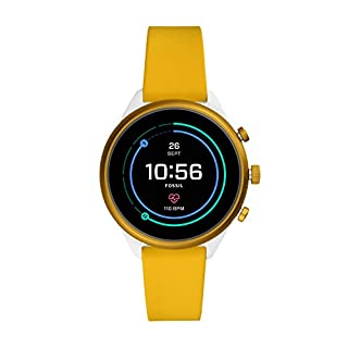 Fossil Women's Sport Heart Rate Metal and Silicone Touchscreen Smartwatch, Color: White, Yellow (Model: FTW6053) (B07WDRCB3D) | Amazon price tracker / tracking, Amazon price history charts, Amazon price watches, Amazon price drop alerts