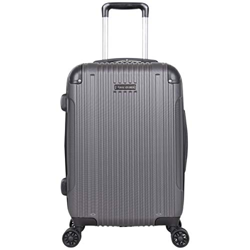 "Ben Sherman Heathrow Haul 20"" Lightweight Hardside Expandable 8-Wheel Spinner Carry-On Suitcase, Charcoal, inch"