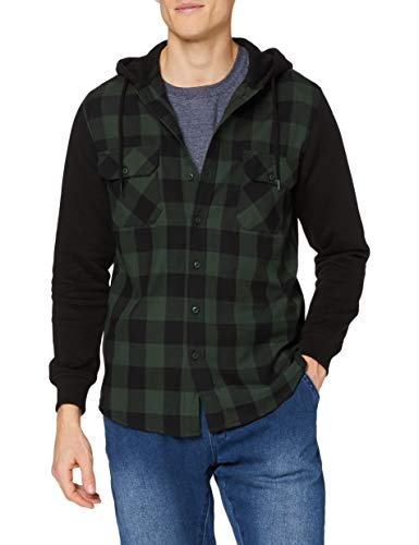 Urban Classics Herren Hooded Checked Flanell Sweat Sleeve Shirt Freizeithemd, Mehrfarbig (blk/forest/blk 797), Large