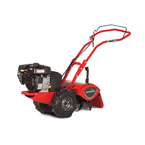 "Earthquake Rear Tine Tiller, 4-Cycle 196cc Powerful Kohler Engine, Large Non-Pneumatic Wheels, 16"" Tilling Width with Reverse"