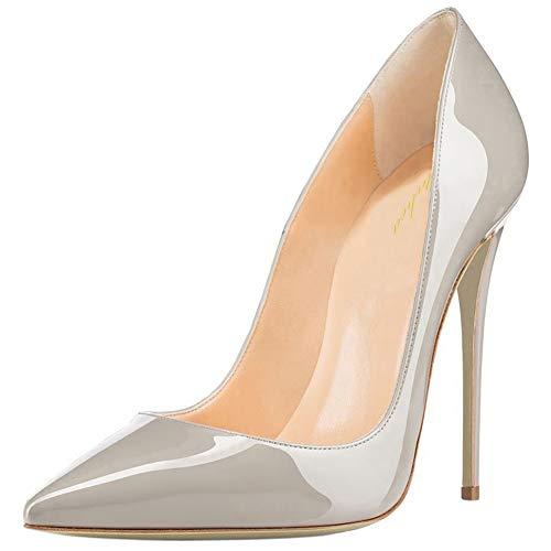 Lutalica Damen Spitze Lackleder Stiletto High Heel Hochzeit Party Kleid Pumps Schuhe Patent Grau Größe 41 EU