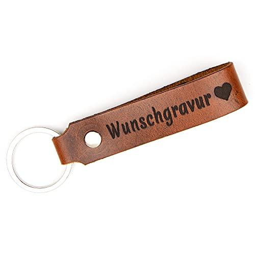 TIDERO Schlüsselanhänger Leder mit Wunschgravur, individuelle Gravur, beidseitig - Schlüsselband Schlüsselbund - Geschenk für Männer Frauen Jahrestag - 100% Handmade in Germany - Wild Brown