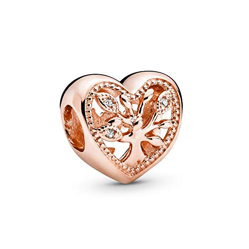 925 Plata Tía Perla Calado Árbol Genealógico Corazón Encantos Moda Mujer Pandora Pulsera Y Brazalete Regalo Diy Joyería Regalo De Vacaciones Para Novia