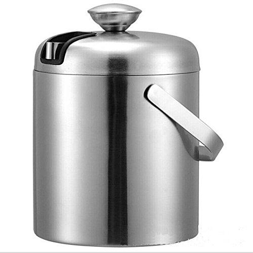 FTC Ice Bucket 304 Secchiello per Ghiaccio Doppio in Acciaio Inox 1.2L con Coperchio Rotondo per Botte di Vino Portatile