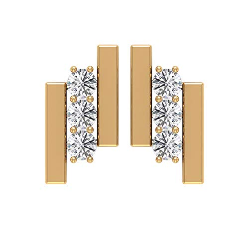 Pendientes de tuerca HI-SI con claridad de color 1/3 CTT certificado diamante antiguo, oro macizo grabado con halo para mujer, pendientes de tres piedras para niña, tornillo hacia atrás