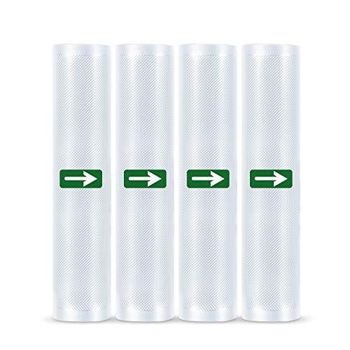 LAKIDAY Vakuumrollen 4 Rollen 28 x 600cm Folienrollen BPA-Frei für alle Vakuumierer, Stark & Reißfest & Kochfest & Wiederverwendbar Vakuumbeutel