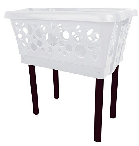 1 Stück (1-3 Stk. frei wählbar) Wäschekorb in weiß mit Standbeinen automatisch aus- & einklappbar, 65x44x65cmKlappfüße Klappbeinen Standfüße Beine Beinen ausklappbaren Beinen Wäschewanne klappbar