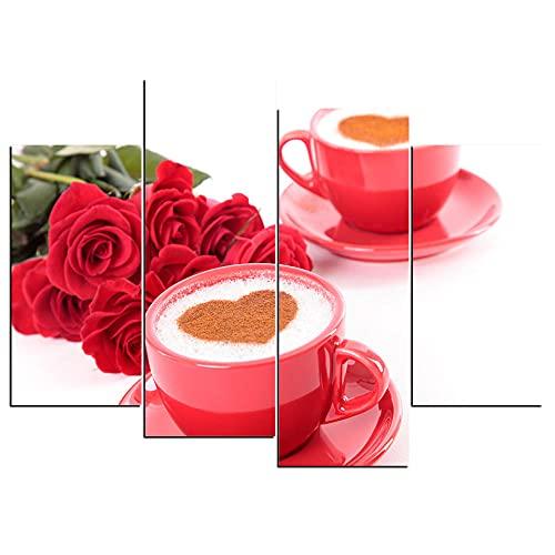 ZXYJJBCL Rote Kaffeetasse Und Rose 4 Panel Wandkunst Hintergrundbilder Drucken Auf Leinwand Das Bild Für Zuhause Moderne Dekoration Stück Holzrahmen