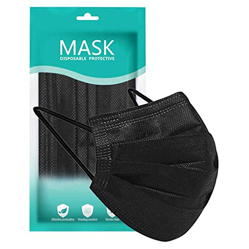50 Pcs Disposable Face Macks, 3 Layer Best Breathable Face ṁɑѕḱ Lightweight for Adult, Men, Women, Indoor, Outdoor Use (50, Black)