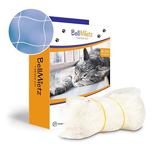 BellMietz® Katzennetz für Balkon & Fenster (durchsichtig) | Extragroßes 8x3m Katzenschutz-Netz ohne Bohren | Balkonschutz Inkl. 25m Befestigungsseil | Balkonnetz transparent mit gratis eBook