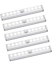 Kaxofang Motion Sensor Light 10 LED Battery Magnetic Operated Lights Under Cabinet Lighting for Counter, Stairway,5 Pack