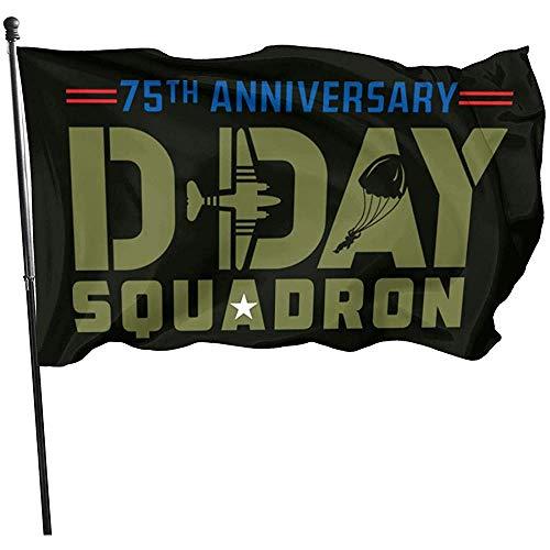 KL Decor Yard Flags, D-Day Squadron Daks Over Normandië 75e verjaardag van D-Day Vlag Grappig Huis Tuin Vlaggen 32cmx48cm