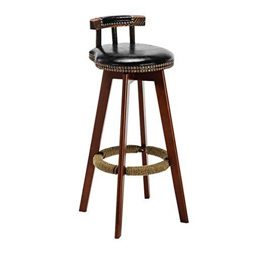 XSJ-Taburetes Taburete de Madera Silla de Bar tapizada con reposapiés de Cuerda de cáñamo Rotable 360 Grados para el Desayuno, Cocina, mostrador, Pub, Cojinete de Carga 200kg.