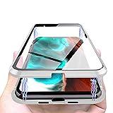 Funda Magnético Compatible with iPhone 12 Pro Max, Adsorción Magnético Vidrio Transparente Templado Doble Cara, Carcasa Protectora Transparente Cuerpo Completo Compatible with iPhone 12-6.7'[Plata]