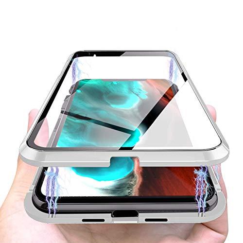 Cover Magnetica Compatibile con iPhone 12/12 Pro, Adsorbimento Magnetica 360 Gradi Full Body, Double Face Vetro Trasparente, Custodia Magnetica Protettiva Compatibile con iPhone 12/6.1'-[Argento]
