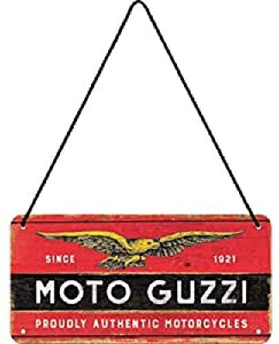 Nostalgic-Art, Cartel colgante retro, Moto Guzzi – Logo Wood – Idea de regalo para los aficionados a las motos, metálico, Diseño vintage, 10 x 20 cm