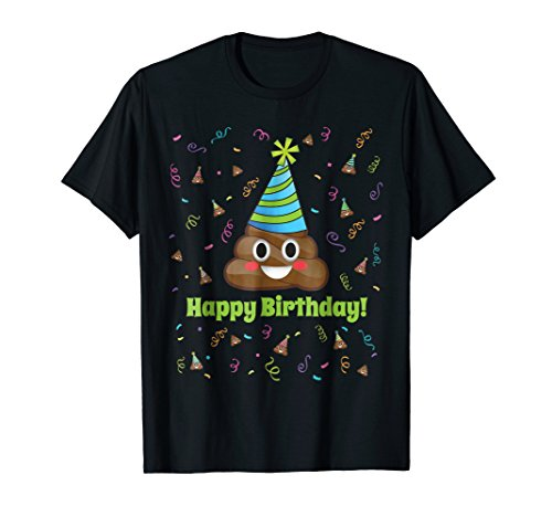 Funny Emoji Poop Happy Birthday New Colors Girls Boys Adults