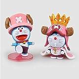 Japón Anime One Piece Cartoon Cute Doraemon cos Tony Chopper con Corona PVC Figura de acción niños Modelo Kawaii Juguetes muñecas-2pcs / Set