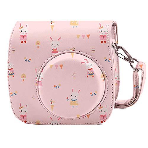 Leebotree Sofortbildkameras Tasche Kompatibel mit Instax Mini 11 Sofortbildkamera aus Weichem Kunstleder mit Schulterriemen und Tasche (Rosa Kaninchen)