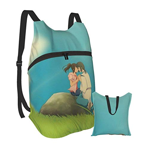 Spirited Away Anime Folding Portable Backpack Lightweight Packable Backpacks Travel Hiking Daypack Water Resistant Camping Outdoor Foldable for Men Women Travel Hiking Waterproof Backpack