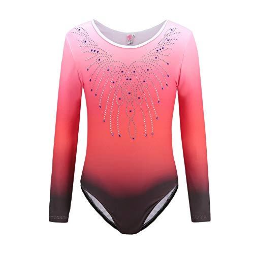 ChYoung Mädchen Tanzanzug Dancewear Langarm Einteiliger Gymnastikanzug Sparkle Gradient Athletic Dance Ballett Kostüme 5-12 Jahre