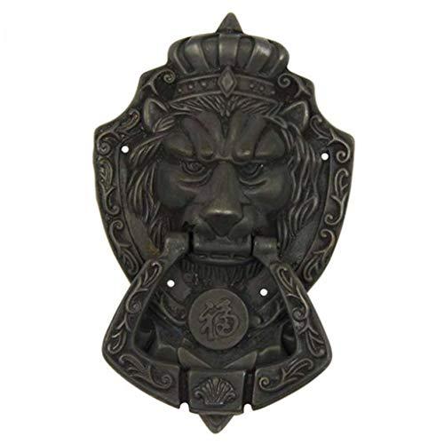 Antik Löwenkopf türklopfer, Europäischer Stil Messing Löwenkopf Ring ziehen Türbeschlag Hardware Haustür Holztür Hof Manor-Schwarz