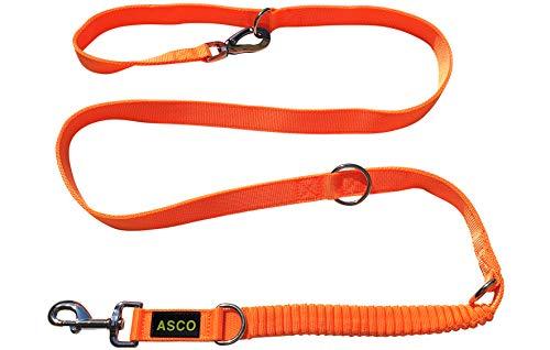 ASCO Hundeleine mit Ruckdämpfer, robuste Trainingsleine verstellbar in 4 Längen, Premium Führleine auch für große Hunde, 100-200 cm neon orange AC03L