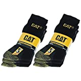 Caterpillar 6 pares Calcetines CAT trabajo para hombres, doble refuerzo en puntera y talón, hilos de excelente calidad Esponja de algodón (Negro 43-46)