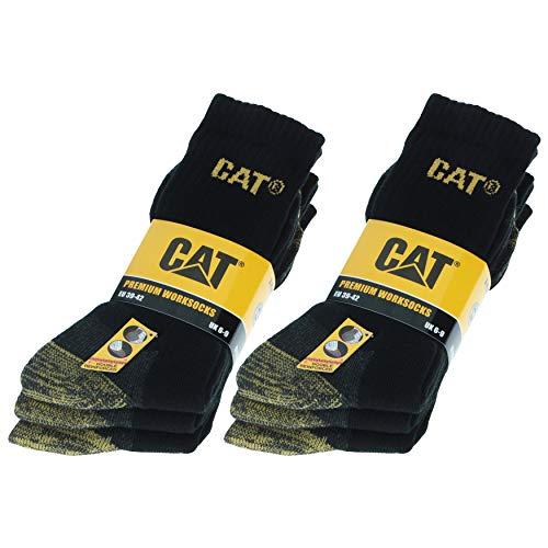 Caterpillar 6 Paires de chaussettes CAT de sécurité au travail pour hommes, double renfort sur la pointe et le talon, Coton d'excellente qualité (Noir, 39-42)
