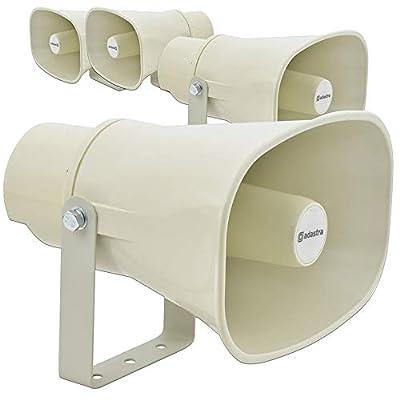 4x Adastra 100V Line Horn Speakers PA Heavy Duty Water Resistant Outdoor IP56