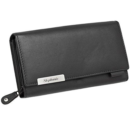 Cadenis Damen-Geldbörse Geldbeutel Leder mit Laser-Gravur aus Rindnappa schwarz Querformat 17 x 9,50 cm