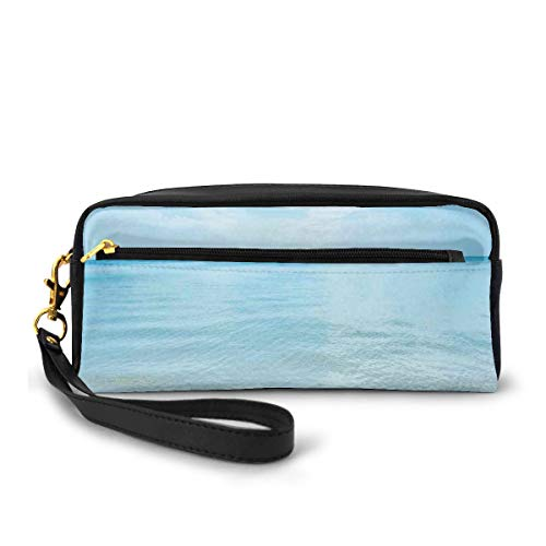 Pencil Case Pen Bag Pouch Stationary,Sunny Summer Day at The Sandy Beach Tranquil Calm Shore Sea Horizon Image Artprint,Small Makeup Bag Coin Purse