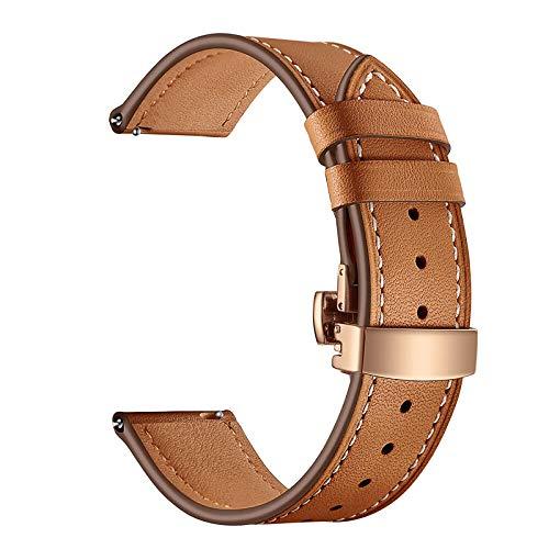YFC Correa de Cuero, Compatible con Samsung Gear S3 / Reloj Galaxy Correa de Reloj Huawei GT Huami Correa con Hebilla de Mariposa, Correa de Repuesto de Correa de Cuero de Grano Superior