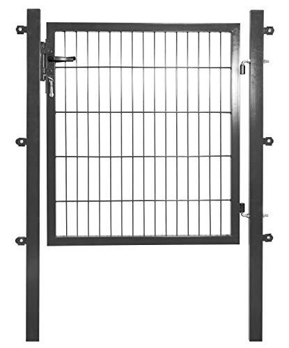 Arvotec Gartentor, anthrazit, 200x50, BxH:1200x1200mm - Pfosten inkl. passenden Anschlussstücken für Stabmattenzaun - inkl. Montagematerial und Schlüsseln