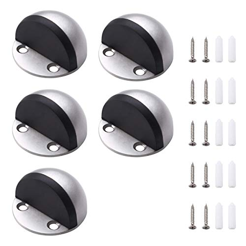 KES Türstopper Boden Schrauben mit Gummi 5er Set Tür Stopper Edelstahl Türpuffer, Gebürstet, HDS201-2-P5