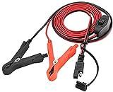 AAOTOKK SAE Cable Extensión 16 AWG Arnés de Cables SAE a Batería Cocodrilo Clip de Cocodrilo Cable Extensión 12 V con Interruptor Acción Rápida Conexión/Desconexión Rápida Cable (2,4 m/7,8 Pies)