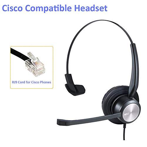 MKJ - Auriculares de Diadema con micrófono de cancelación de Ruido para Cisco CP-7821, 7942G, 7931G, 7940, 7941G, 7945G, 7960, 7961, 7961G, 7962G, 7965G, 7970, 7971G, 7975G, 8841, 8945, 9971 etc.