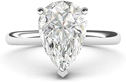 Sterling Silver 8x12mm Simulated Pear shaped Diamond Engagement Ring Domed Band Promise Bridal product image