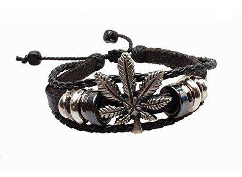 Gudeke Punk Cannabis Marihuana Weed Blatt Leder geflochtenen Seil Armband Resizable