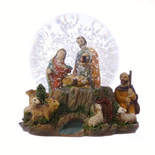 Christmas Nativity scene snow globe gift waterball 10cm Holy Family Jesus shepherd ornament