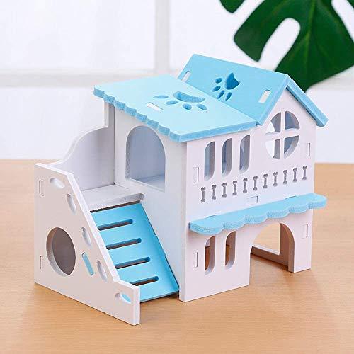 Hamster Haus Hamster Hideout Haus aus Holz zwei Schichten Hut for Igel Maus Chinchilla Ratte Gerbil Dwarf Cages Pens (Farbe: Grün, Größe: 16x10x14cm) ZHANGKANG (Color : Blue, Size : 16x10x14cm)