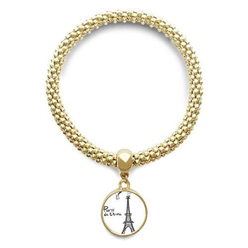 DIYthinker Línea de joyería de Cadena del Dibujo de la Silueta de la Torre Eiffel de París de Oro Pendiente Redondo de Pulsera