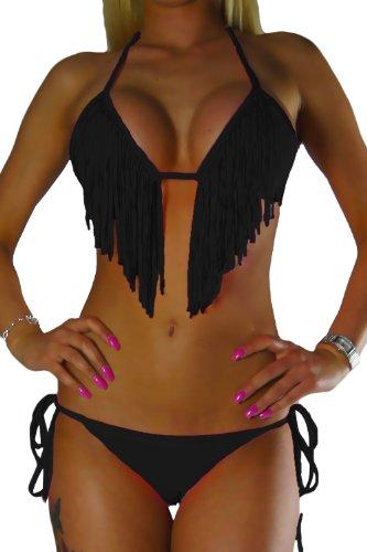 ALZORA Bikini Damen Tassel Fransen Fringe Push Up Set Top und Hose, 10200 (XS, Z5-Schwarz Tassel Bänder)