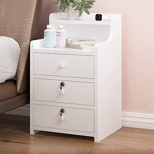 FiveShops Nightstand End Tables Storage Cabinet Bedroom,3 Drawers Night Stand Storage Wood Cabinet Bedroom Side Storage End Table with Open Shelf and Locking Drawers for Home Dorm, White