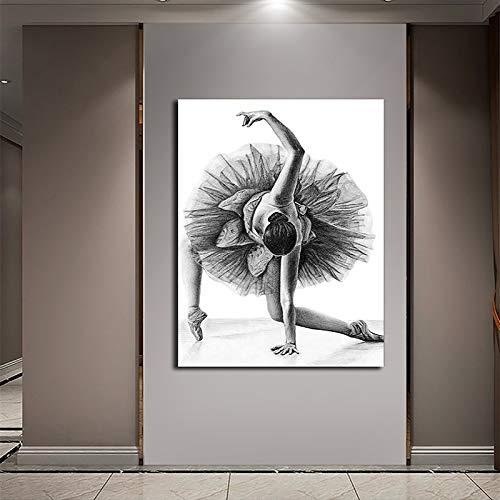 Geiqianjiumai Bailarina Blanco y Negro Chica impresión Pintura al óleo Arte de la Pared Sala de Estar Cartel Pintura sin Marco 50X75 cm