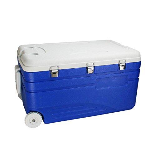 JXS Koelbox, hoogwaardige koelkast, camping, picknick, verbeterde versie met geïntegreerde thermometer en wielen (130L)