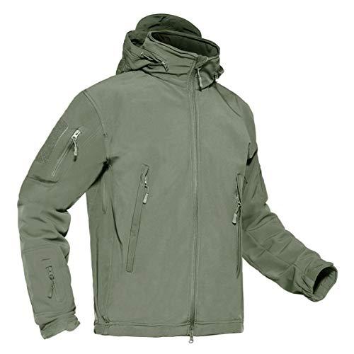 KEFITEVD Hommes Armée Vert Veste Tactique Étanche Softshell Polaire Doublure Doublure Outwear avec Multi Poche À Glissière