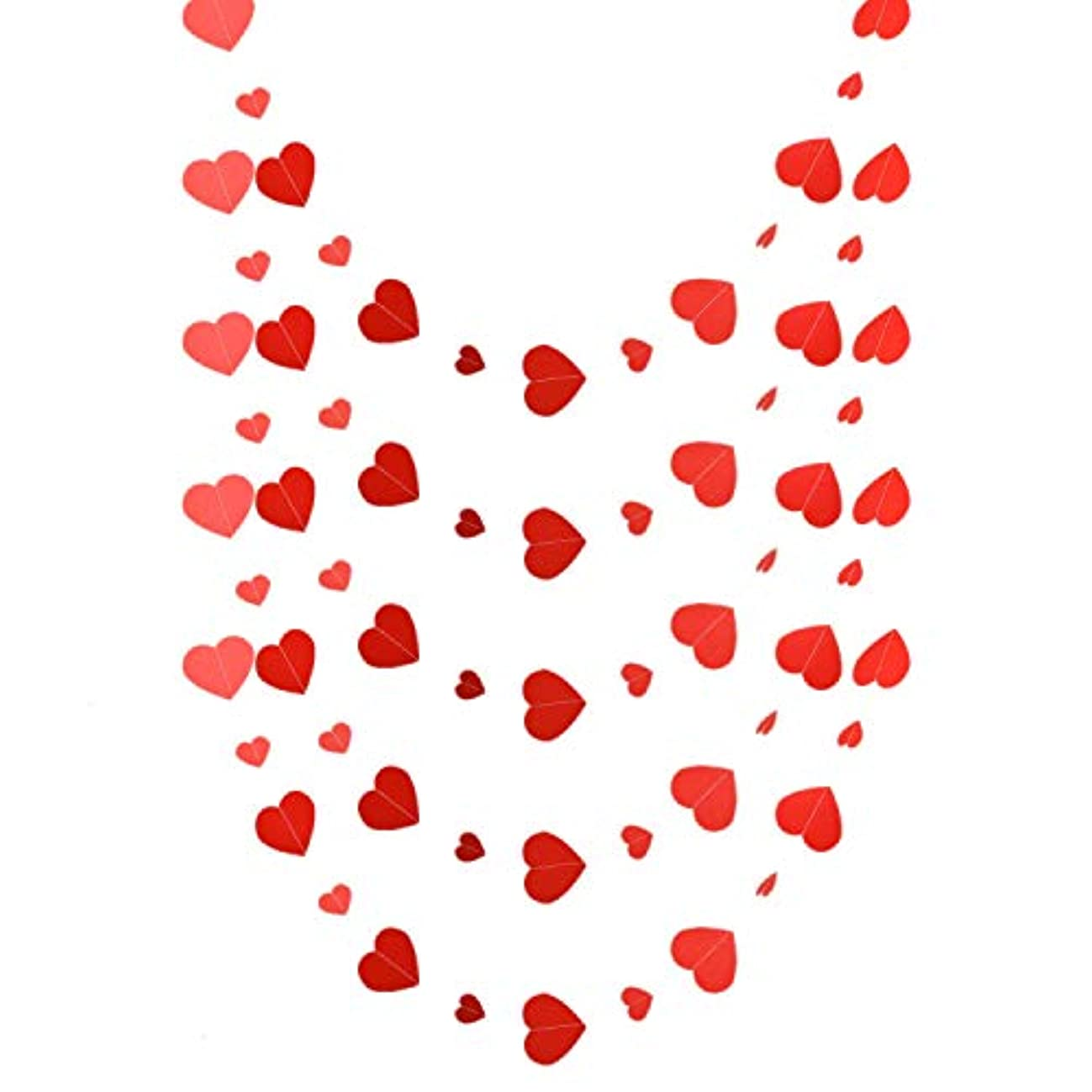 Monrocco 5 Pieces Paper Red Heart Garland Banner for Valentines Day Décor Supplies, Anniversary Backdrop and Wedding