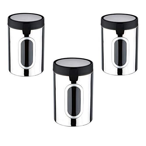 Vorratsdosen Edelstahl mit Deckel 3 Stück Sichtfenster Aufbewahrungsdosen Lebensmittel (Kaffeedose, Luftdicht, 3er Set, Vorratsbehälter)